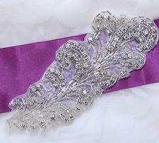 """6.5"""" Feather Acrylic Beaded Rhinestone Crystal Wedding Bridal Dress Applique DIY"""