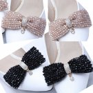 Black/Golden Beads Butterfly Bow Crystal Wedding Bridal Shoe Clips Pair -CA