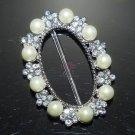 Rhinestone Crystal Ivory Faux Pearl Wedding Sash Ribbon Slider Oval Belt Buckle