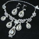 Wedding Bridal Light Champagne Teardrop Dangle Necklace Earrings Set