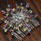 COLOR RHINESTONE CRYSTAL WEDDING BRIDAL STAR FLOWER GIRL HAIR COMB