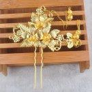 Gold Leaf Butterfly Flower Tassel Wedding Bridal Bride Hair Stick Pin Headpiece