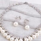 WEDDING RHINESTONE CRYSTAL IVORY FAUX PEARL NECKLACE