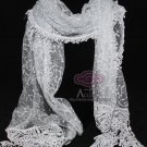 VINTAGE COSTUME GREY EMBROIDERY CROCHET LACE STOLE WRAP SHAWL SCARF