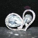 BRIDAL DRESS BOW RHINESTONE CRYSTAL WEDDING LOVE HEART SILVER BROOCH PIN