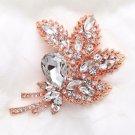 Large Crystal Rhinestone Rose Gold Tone Floral Leaf Wedding Bridal Brooch Pin