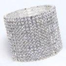 15 Rows Rhinestone Crystal Wedding Bridal Elastic Bouquet Cuff Bracelet Bangle