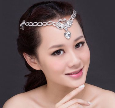 Bridal Wedding Rhinestone Crystal Hair Tiara Tikka Swan Heart Clip Headpiece
