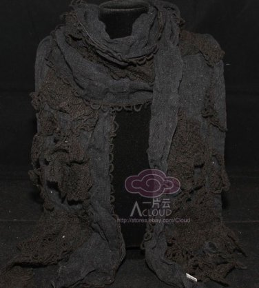 BLACK EMBROIDERY ROSE CROCHET FLORAL CROCHET LACE WRAP SHAWL STOLE SCARF