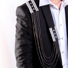 Punk Style Wedding Party Groom Men Epaulets Dangle Chain Badge Brooch Pin