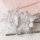 Wedding Bridal Faux Pearl Crystal Lace Net Sequin Flower Hair Clip Headpiece