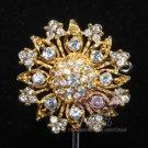 Rhinestone Crystal Round Vintage Wedding Cake Gold / Silver Corsage Brooch Pin