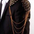 Punk Style Wedding Groom Men Epaulets Gold Dangle Chain Badge Brooch Pin