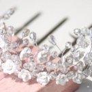 Wedding Bridal Rhinestone Crystal Tiara Bride Hair Headpiece Clay Flowers Crown