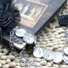 Rose Satin Black Feather Copper Chain Groom Men Suit Corsage Brooch Pin -CA