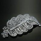 Classic Large Feather Leaf Wedding Bridal Rhinestone Crystal Tiara Hair Comb