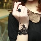 Rococo Victorian Goth Black Lace Applique Slave Bracelet with Black Rose Ring