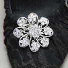Vintage Style Simple  Rhinestone Crystal Silver Flower Shoe Clips Pairs - CA