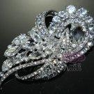 Large Vintage Style Ribbon Marquise Rhinestone Crystal Wedding Bridal Brooch Pin