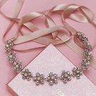 Bridal Wedding Pearl Flower Clear Rhinestone Crystal Hair Ribbon Tiara Headband