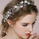 Silver Faux Pearl Flower Leaves Wedding Vine Crystal Forehead Princess Tiara