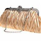 Champagne Gold Bridal Wedding Shoulder Handbag Purse Wallet Clutch Bag