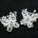 Vintage Cute Butterfly Acrylic Beaded Rhinestone Wedding Bridal Hair Clips Pair