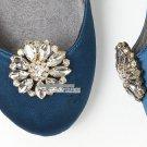 Snowflake Flower Glass Rhinestone Crystal Wedding Gold/Silver Shoe Clips Pair