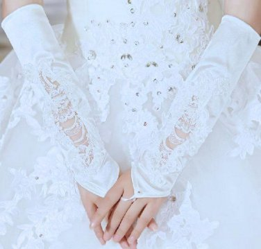 OFF WHITE LACE WEDDING BRIDES SATIN FINGERLESS FAUX PEARLS ELBOW GLOVES