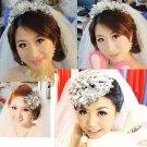 Clear large Acrylic Flower Leaves Wedding Vine Forehead Princess Tiara Headpiece