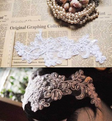 Lot Of 2 Embroidery Wedding Bridal White Faux Pearl Craft DIY Lace Patch