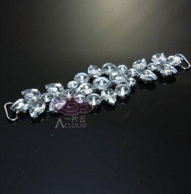 Marquise Rhinestone Crystal Long Wedding Bridal Ribbon Belt Dress Hock Buckle