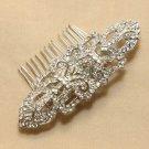 Vintage Style Silver Long Bridal Wedding Rhinestone Crystal Bride Hair Comb