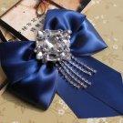 Black Blue Ribbon Men Wedding Rhinestone Chain Necktie Bow Tie Brooch Clip