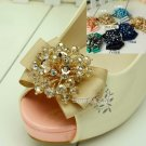 Beaded Crystals Color Bow Wedding Bridal High Heel Sandals Shoe Clips