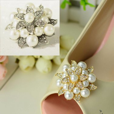 Silver/Gold Flower Pearl Rhinestone Crystal Wedding Bridal Shoe Clips Pair -CA