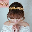 Faux Pearl Gold Leaves Wedding Bridal Crystal Tiara Headband With Earrings