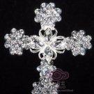 Vintage Style Heart Christian Silver Cross Rhinestone Crystal Wedding Brooch Pin