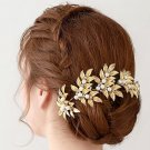 Gold Faux Pearl Flower Leaves Wedding Vine Crystal Forehead Princess Tiara