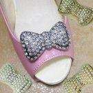 Rhinestone Crystal Pearl Silver Gold Bow Wedding Bridal High Heel Shoe Clips