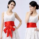3.4M Ribbon Rhinestone Crystal Bridal Wedding Double Layers Red Sash Dress Belt