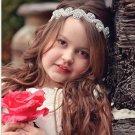Wedding Crystal Rhinestone Beads Applique Baby Girl Toddlers Headband -CA