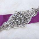 "9.5"" Long Star Rhinestone Faux Pearl Beaded Bridal Wedding Ribbon Belt Applique"