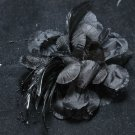 Black Rose Feather Wedding Flower Girl Bride Hair Clip Accessories - CA