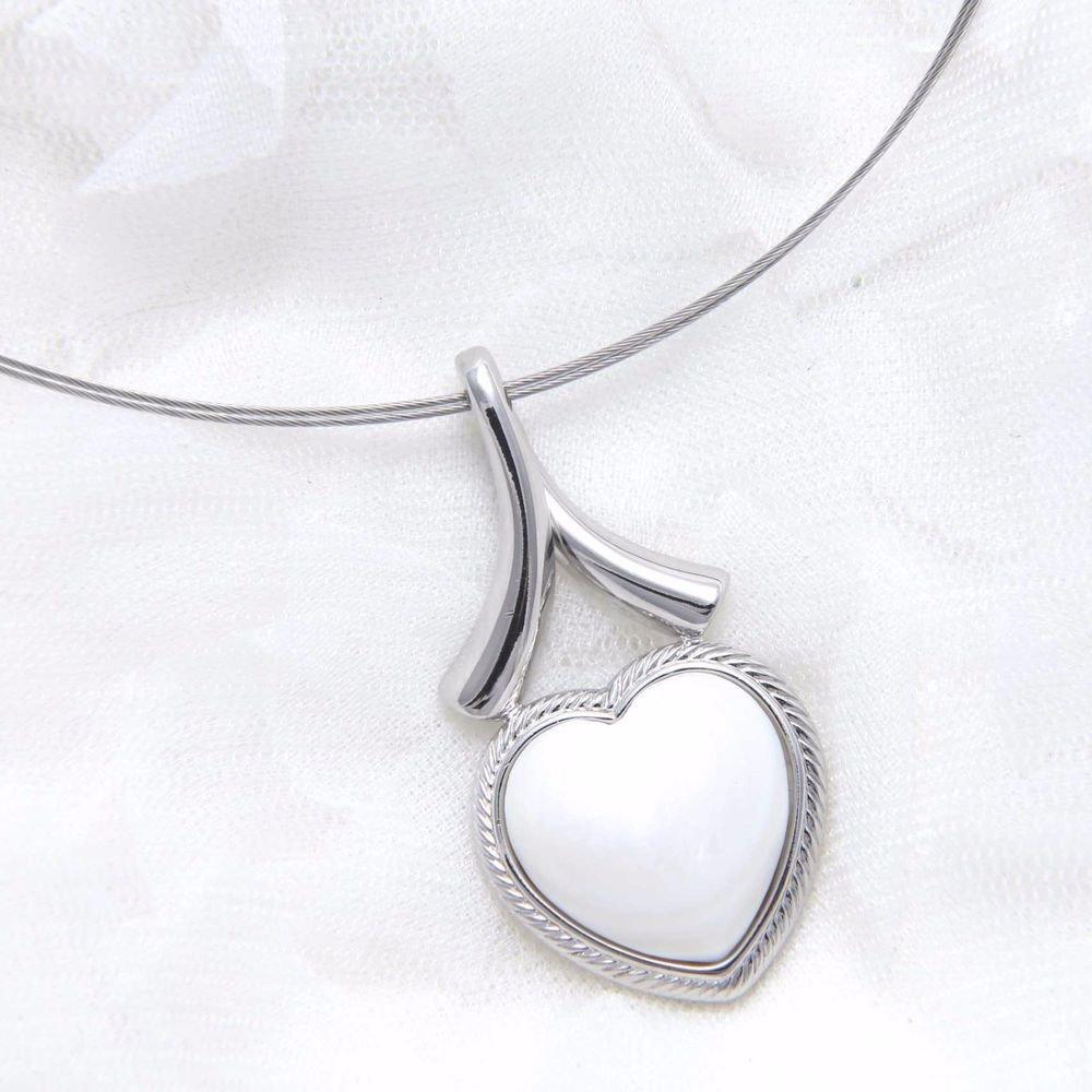 Simply Elegant White Heart Stone Silver Pendant Charm Choker Necklace
