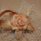 Veil Net Feather Orange Rose Wedding Flower Girl Bride Hair Clip - CA