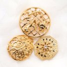 Mix Of 3 Vintage Gold Metal Rhinestone Crystal Craft Shank Buttons DIY