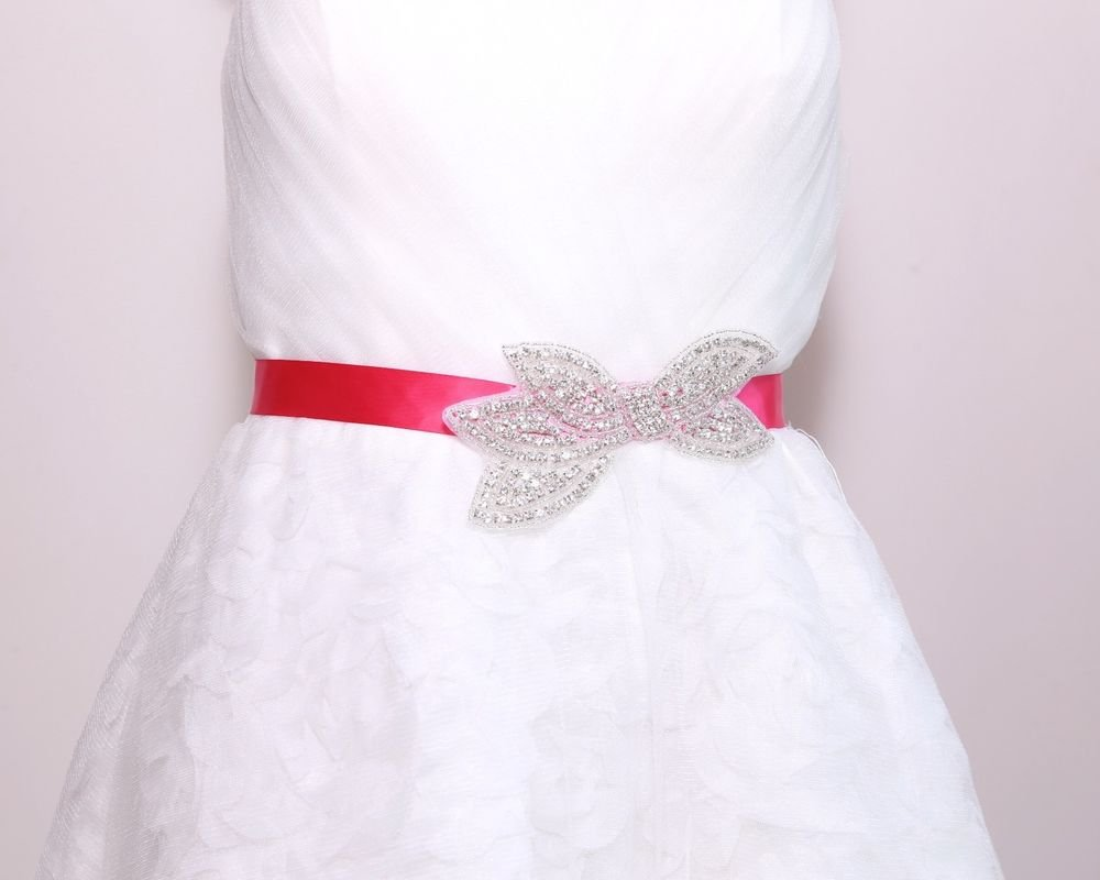 Butterfly Ribbon Bow Rhinestone Crystal Bridal Wedding Satin Sash Dress Belt