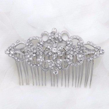 Vintage Style Silver Tone Bridal Wedding Rhinestone Crystal Bride Hair Comb
