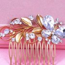 Wedding Bridal Gold Butterfly Leaf Crystal Headpiece Hair Comb Accessories